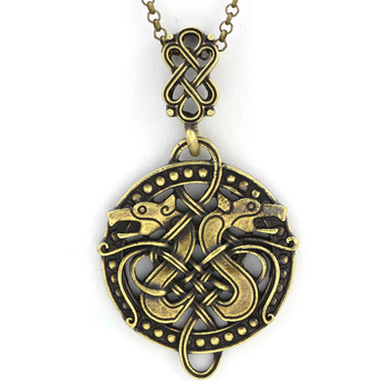 Vintage Nordic Viking Norse Dragon Jörmungandr Necklace  Viking Necklace