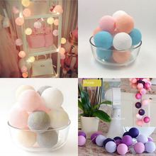 YIMIA 20p/Set Cotton Balls LED Fairy String Lights AC/Battery DIY Christmas Garlands Home Patio Wedding Light Party Decor Lamp