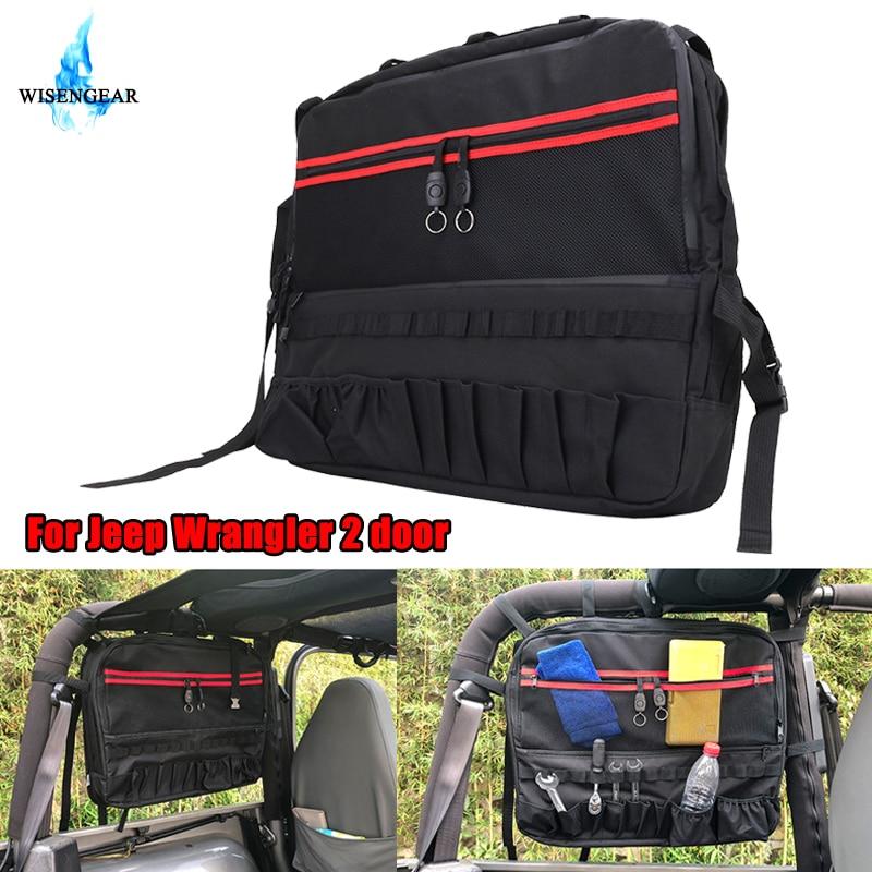For Jeep Storage Tool Bag Organizer Saddlebag Side Roll Bar Cage Multi Pockets Cargo Bag For