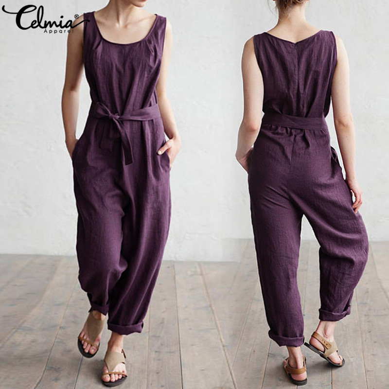 Celmia 2019 Women Jumpsuits Casual Loose Sleeveless Rompers Cotton Linen Playsuits O Neck Belt Solid Plus Size Overalls Palazzo
