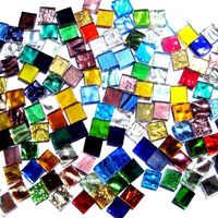100 Pcs Assorted Color Square Glass Mosaic Tiles DIY Crafts Supplies 1*1*0.4cm