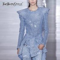 TWOTWINSTYLE Diamond Denim Coat Tops Female Long Sleeve Back Zipper Deinm Jacket Coats Women Fashion Clothes Korean 2019 New