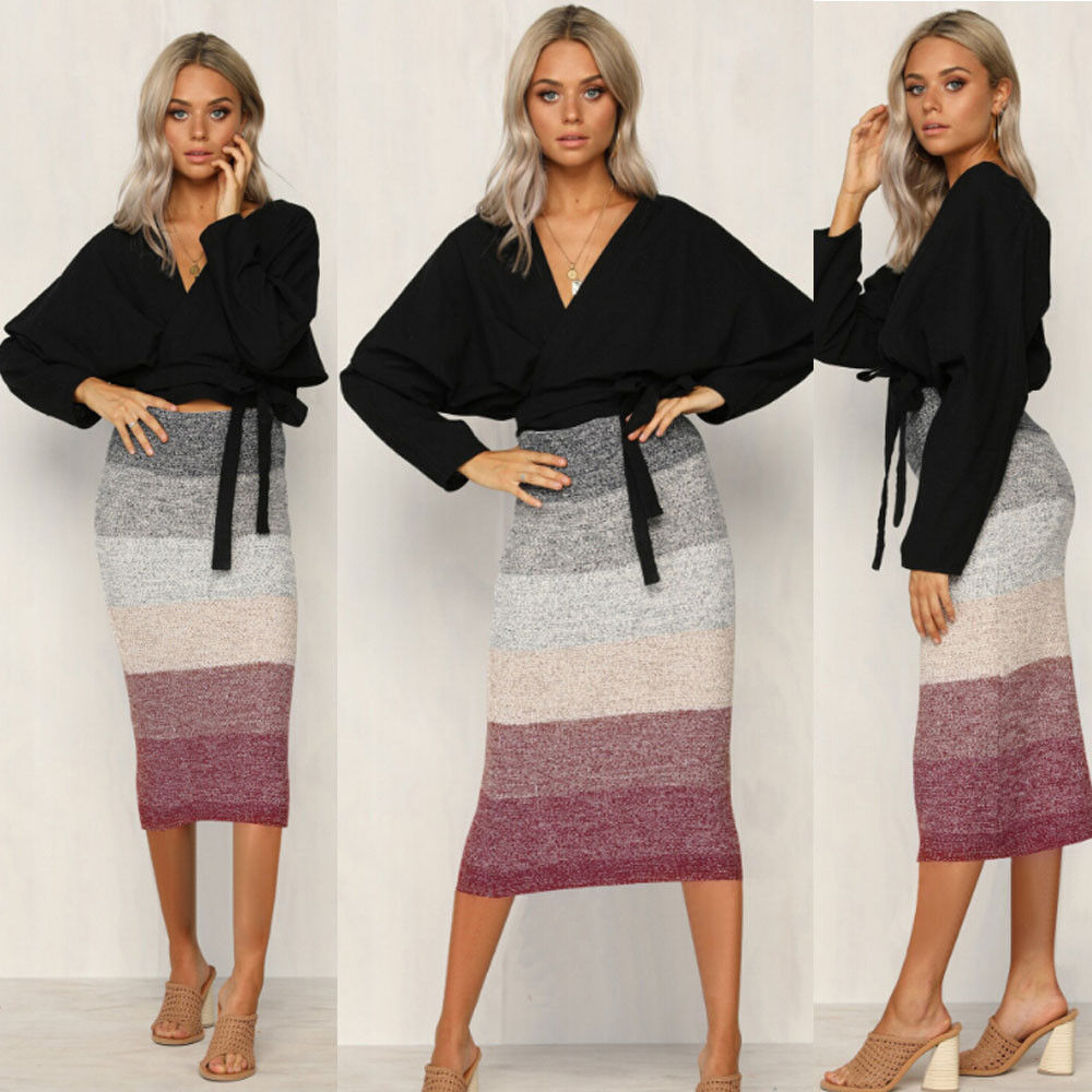 Sexy Women High Waist Knitted Skirt Elegant Elastic Slim Casual Pencil Skirt Bodycon Fashion Women Clothes