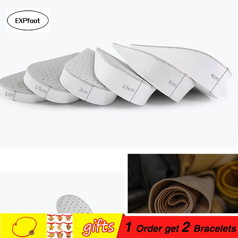 Half Height Increase Elevator Shoes Insoles For Men Up 15 To 40 Mm Pigskin Insole Inserts Foot Care Pads  Leather Material
