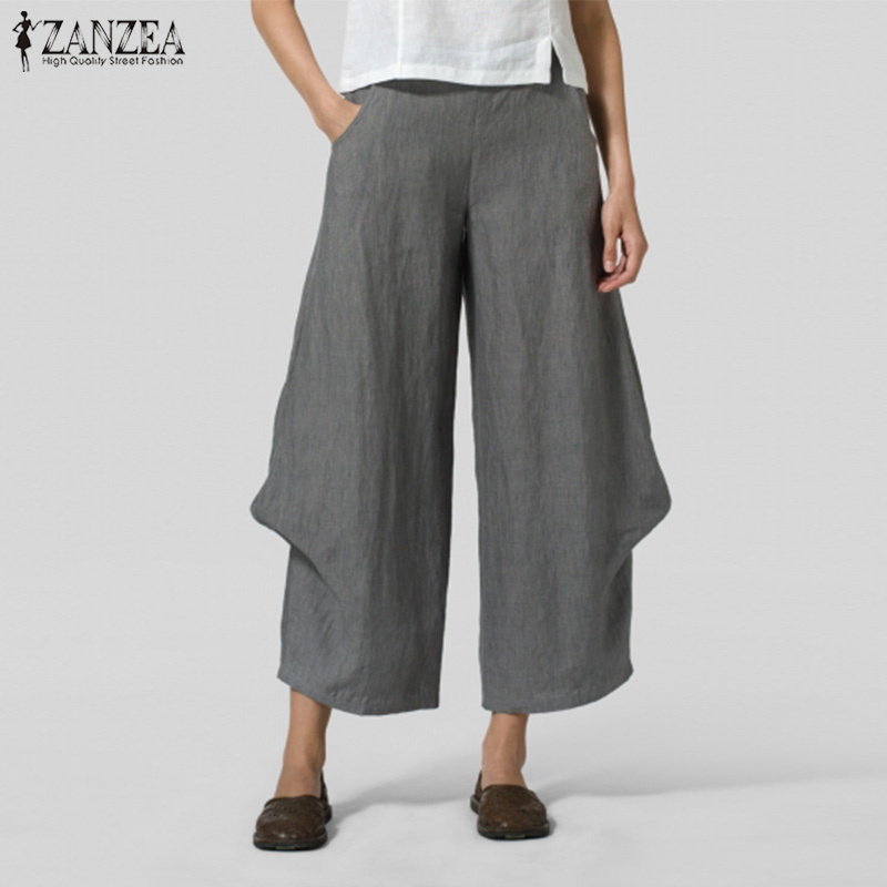 ZANZEA   Pants   Women   Wide     Leg     Pants   2019 Spring Ladies Ruffles Pantalon Palazzo Elastic Waist Solid Trousers Long   Pants   Streetwear