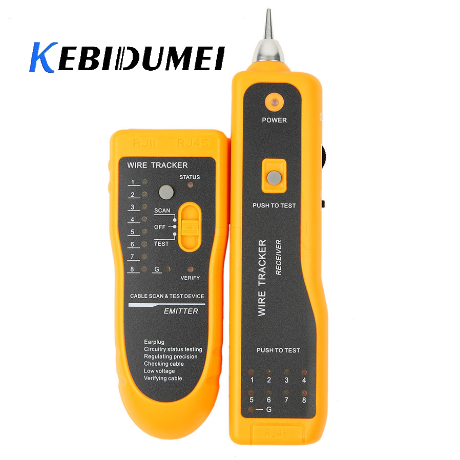 Kebidumei Network Cable Tester Detector RJ11 RJ45 Cat5 Cat6 Telephone Wire Tracker Tracer Toner Ethernet LAN Line Finder Newest(China)