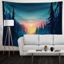 Landscape Hippie Tapestry Wall Hanging Nature Mountain Psychedelic Tapestry Hippie Boho Tree Abstract Art Wall Cloth Decor Throw