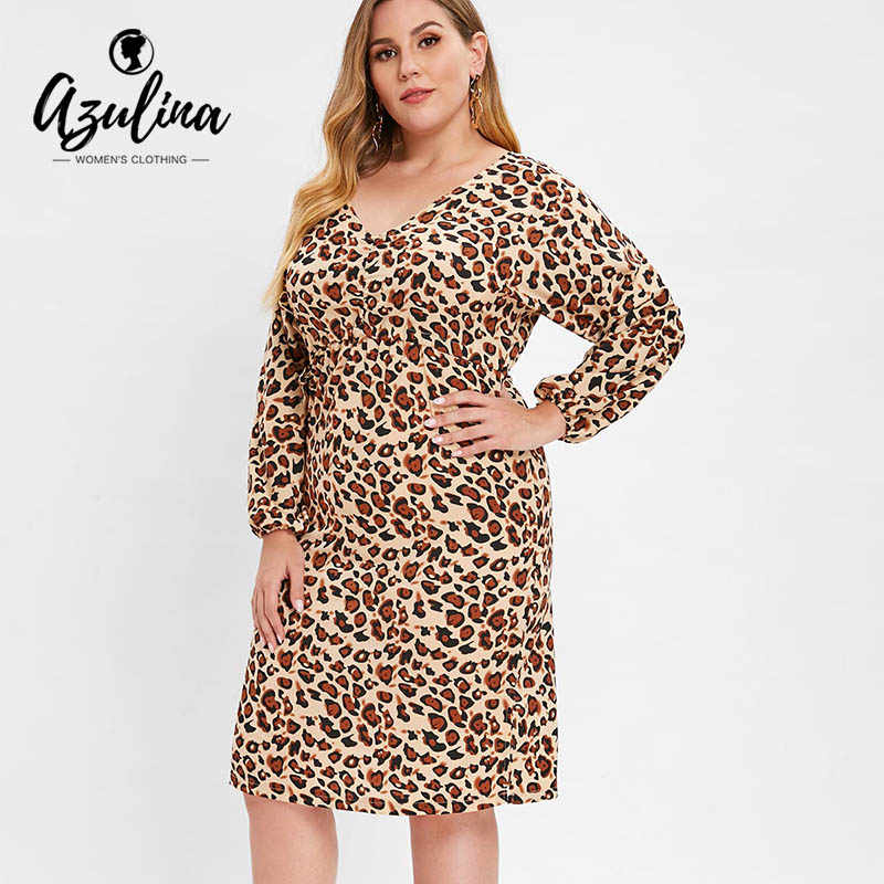AZULINA Plus Size Slit Ruched Leopard Bodycon Dress Women V-Neck Long  Sleeves High Waist cd8f5c062424