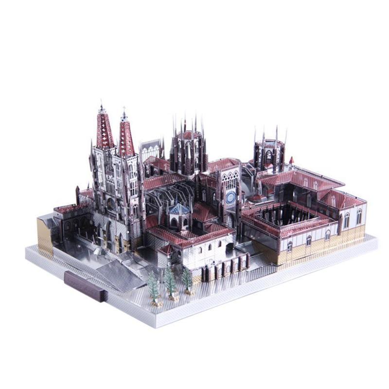 3D cathédrale Puzzles cathédrale Architecture 3D métal Puzzle bricolage assembler des Kits de modèles découpés au Laser Puzzle jouets