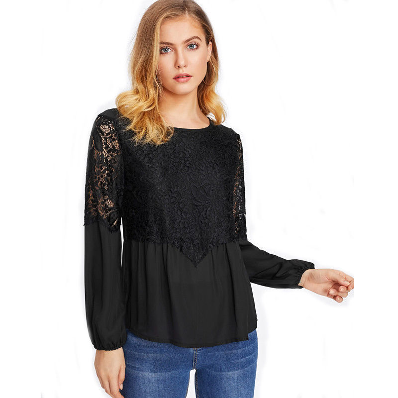Casual Women Loose Chiffon Long Sleeve Lace Floral O-Neck Black White Colors Shirt Tops Casual Blouse