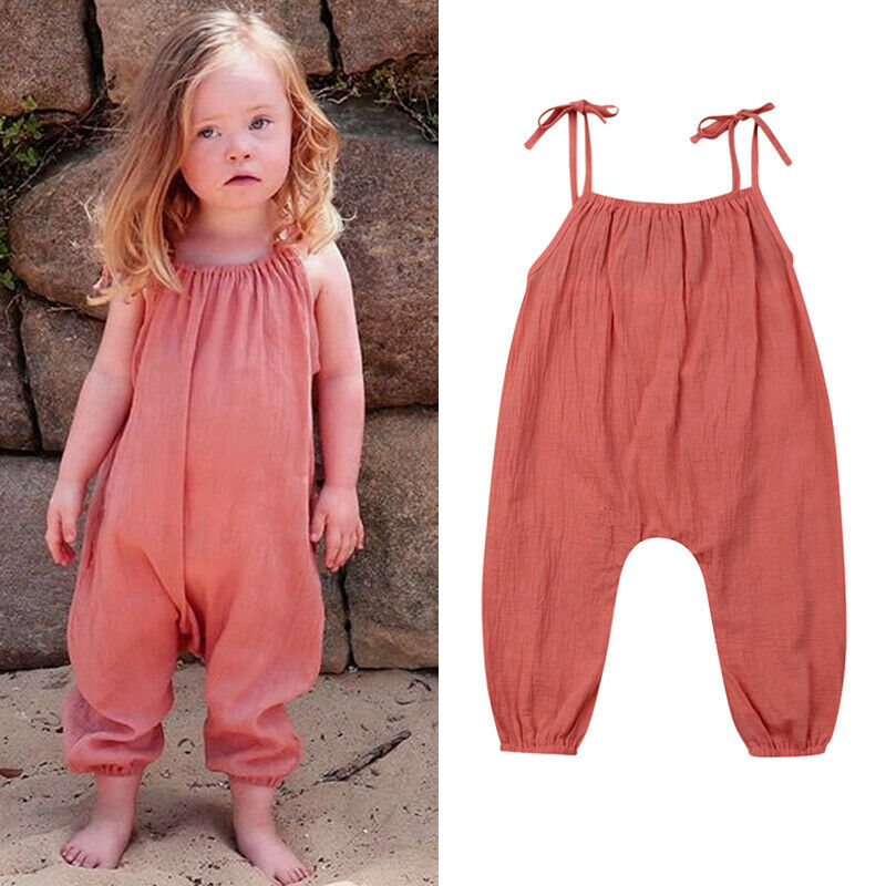 Toddler Baby Girls Spaghetti Strap Romper Cotton Jumpsuit Backless Solid Color Playsuit Kids One Piece Summer Outfit