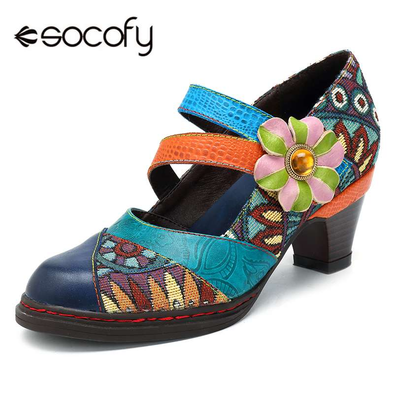 Socofy Retro Bohemian Women Pumps Shoes Woman Spring Autumn Genuine Leather Block High Heels Ladies Shoes Pumps Women Plus Size