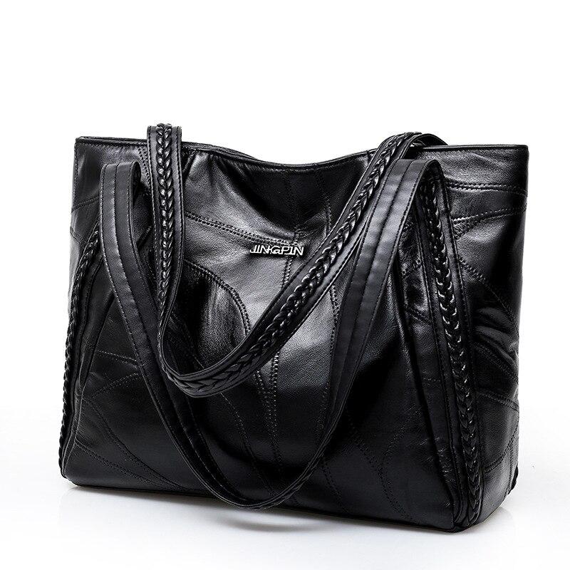 Women Tote Bag Genuine Sheepskin Patchwork Casual Hand Bags Capacity Shoulder Bag Large Ladies Shopping Bag Designer Handbags in Top Handle Bags from Luggage Bags