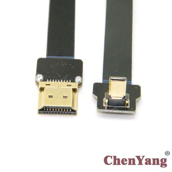 CY 10pcs/lot   HDMI Male to  90 Degree Up Angled FPV Micro HDMI Male FPC Flat Cable 20cm