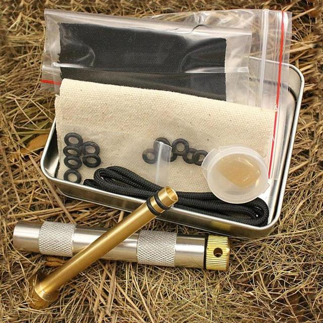 Brass Fire Piston Kit Outdoor Survival Emergency Tool Aluminium Fire Piston with Char Cloth -Campers/Survival / Preppers
