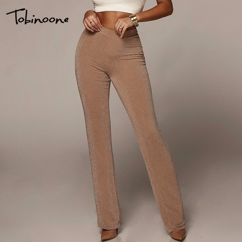 Tobinoone Sexy black pathwork   pants   women Fashion slim casual   pants   Winter high waist   wide     leg     pants   trousers bottom 2018