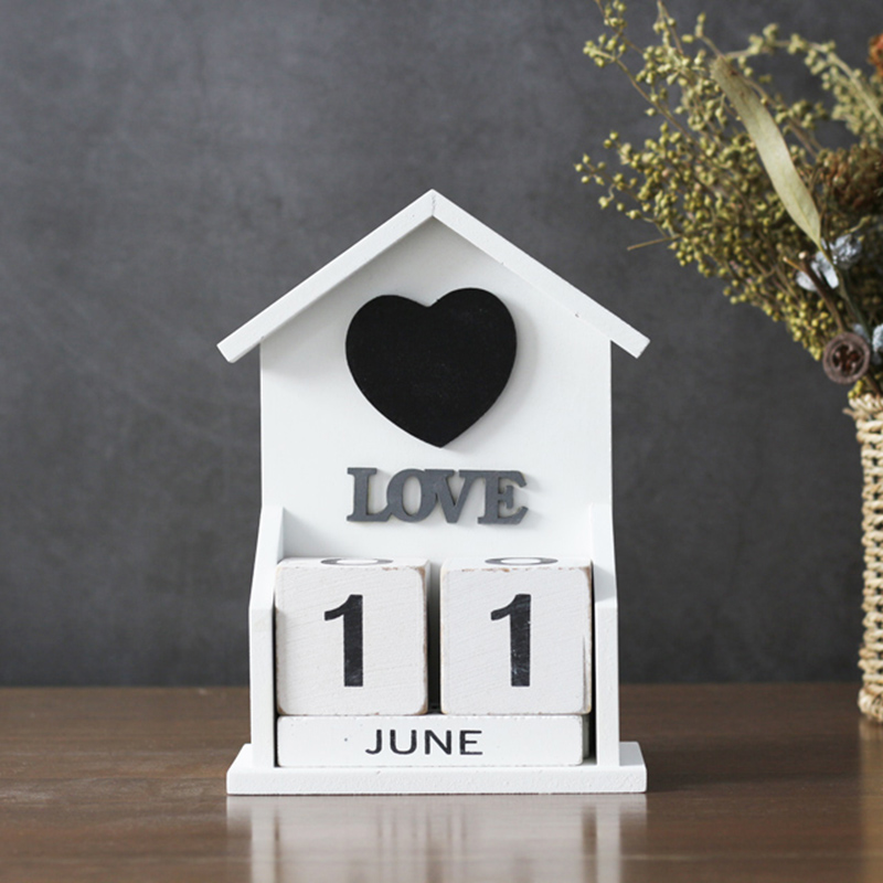 Vintage Decorative Wooden Perpetual Calendar House Model Home Decor Wood Block Calendar Figurines Tabletop Diy Organizer Agend