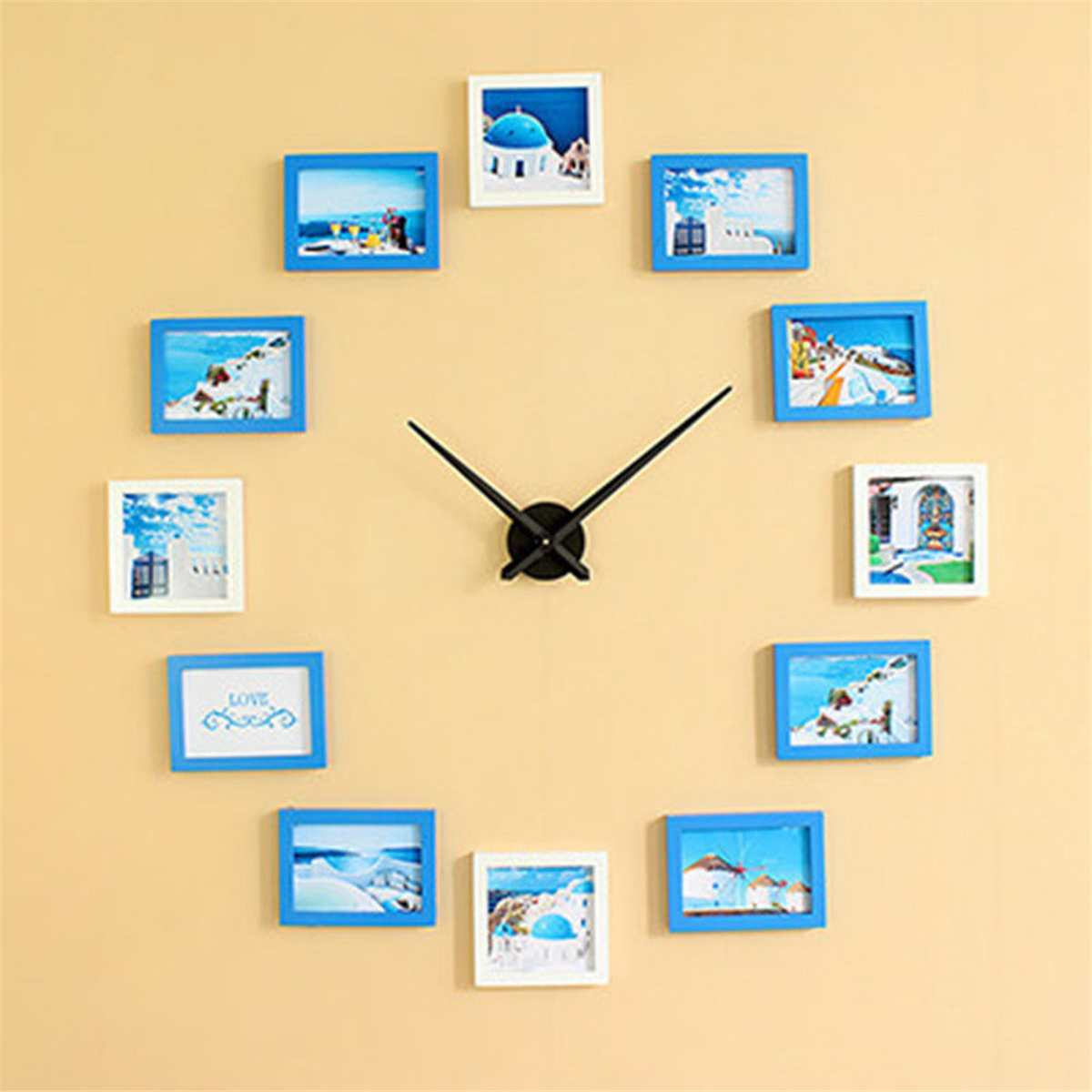 2019 12 Photo Frames Nordic Style DIY Wall Clock Modern Design Wood Photo Frame Clock Art Pictures Clock Unique Klok Home Decor