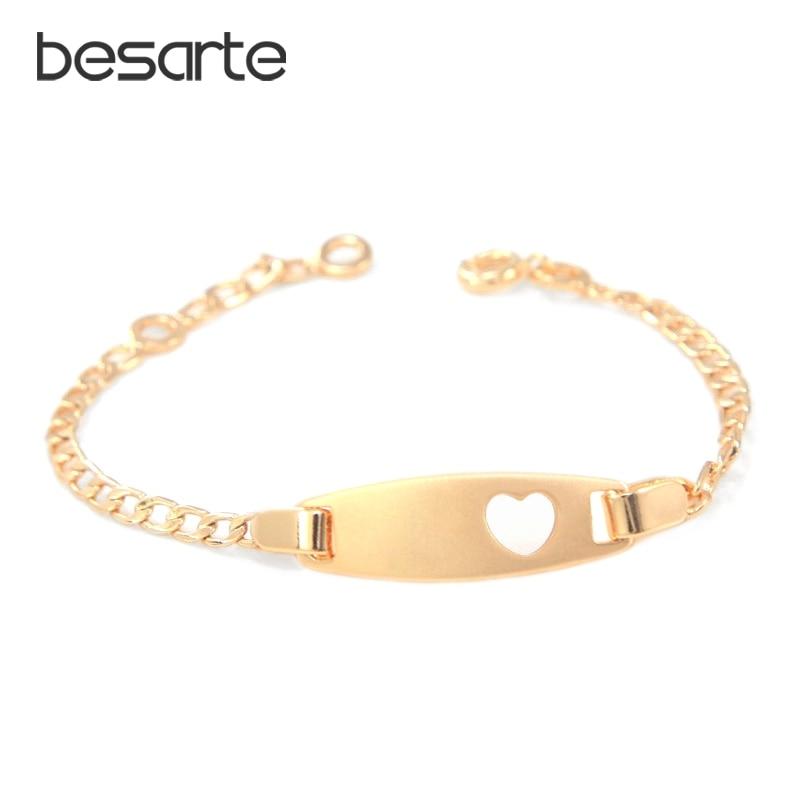 17cm Heart Baby Bracelets Gold Chain Bangles 18k Bracelet Bebe Pulseira Pulsera Bracelete Bracciali Ninas Girls Boy Jewelry BR28 jewellery