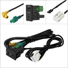 KKmoon Car USB AUX Audio Cable Switch Plug for VW Passat B6 B7 CC Touran POLO Facelift RCD510+/310+