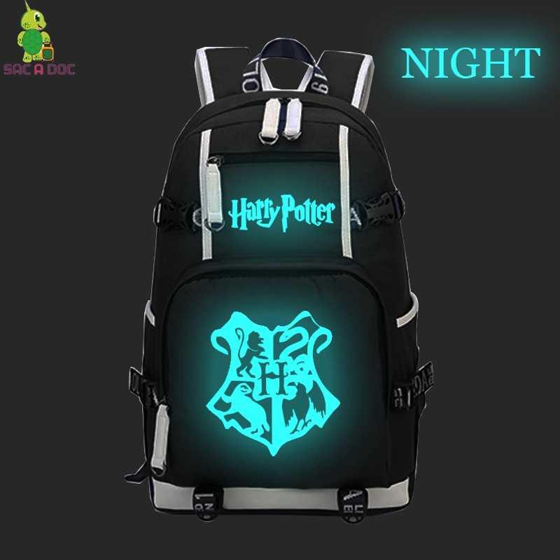 8689a9796b04 Harry Potter Hogwarts The Deathly Hallows Luminous Backpack Men Women  Laptop Backpacks for Teenage Boys