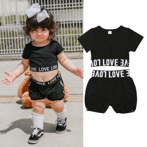 Toddler Kids Baby Girl Crop Tops T-Shirt Short Pants Outfits Clothes Summer Set