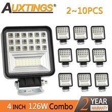 Auxtings 2pcs 10pcs waterproof 4'' 126w Combo led Work Light bar Super Bright offroad truck car LED work light 12v 24v lamp