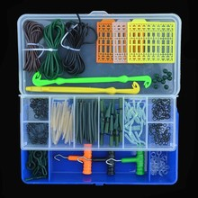 Carp Fishing Accessories 161pcs/set Sleeves Lead Clips Rubber Tubes Matte Black Swivels Rig Tools Kit
