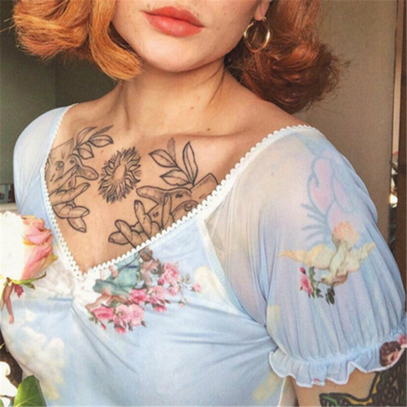 See Through Crop Top Women Ruffles Short Sleeve Fishnet V Neck Angel Cupid Print Lace Up Camisole Female Loose Casual T-Shirts