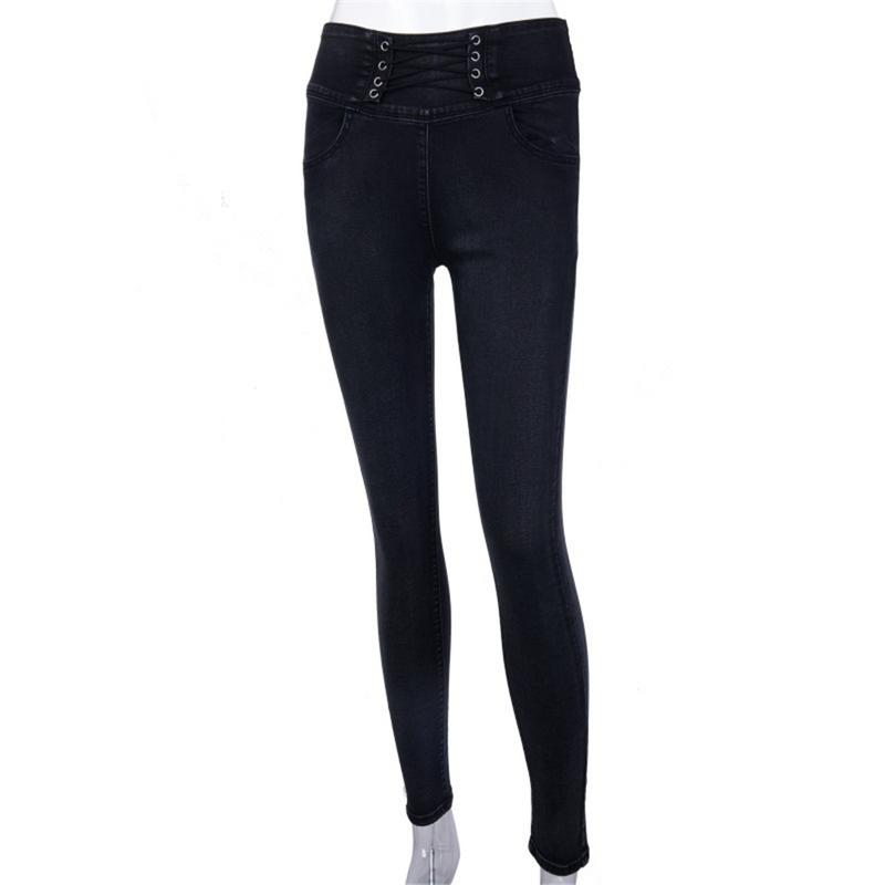 Women Back Zipper Pencil Jeans Female Stretch Solid Color Denim Skinny Pencil Pants High Waist Simple Soft Black Trousers Newly Price $26.37
