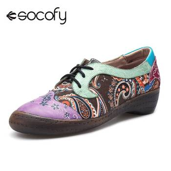 Socofy Vintage Bohemian Style Oxford Lace-up Shoes Woman Spring Summer Genuine Leather Women Flat Shoes Retro Casual Ladies Flat
