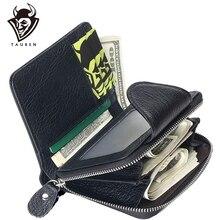 TAUREN 100% Genuine Leather Cowhide Men Black Coin Purse Card Holder Male Wallets Big Capacity Short Purse With Zipper Pocket все цены