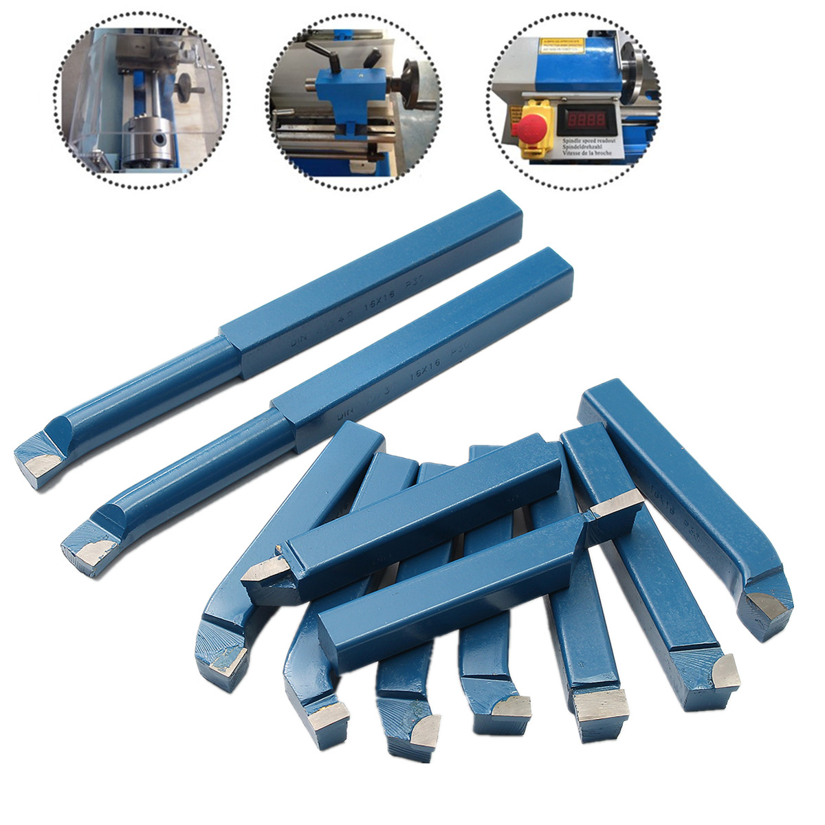 11PCS 10mm(3/8) Carbide Tip Cutting Turning Boring Bit Mini Metal Lathe Tool Set Carbide + Steel for Metal Working Lathe thread11PCS 10mm(3/8) Carbide Tip Cutting Turning Boring Bit Mini Metal Lathe Tool Set Carbide + Steel for Metal Working Lathe thread