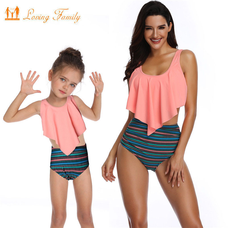 Special Section Sand Beach Family Matching Swimwear Ruffled Mother Daughter Swimsuits Dad Son Men Boys Trunks Mommy And Me Clothes Outfits Look Mother & Kids