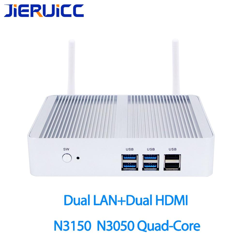 Sans ventilateur intel min pc avec celeron quad-core 1.6 ghz-2.08 ghz, double lan double hdmi avec Windows 10 Pro Mini-Ordinateur pour VPN routeur