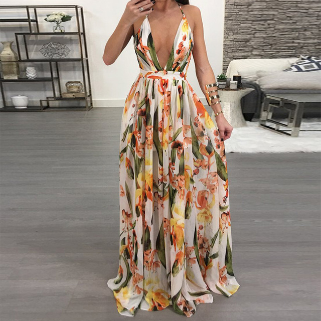Women Dresses Summer Sexy Maxi Boho Style Print Party Dress Deep V Neck Backless Long Dress Vestidos
