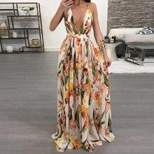 Women Dresses Summer Sexy Maxi Boho Style Print Party Dress