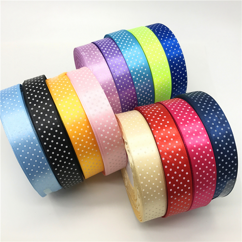 5 ярдов 1 «25 мм печати горошек атласная лента для волос лук Рождество Свадебные украшения DIY Вышивание Craft