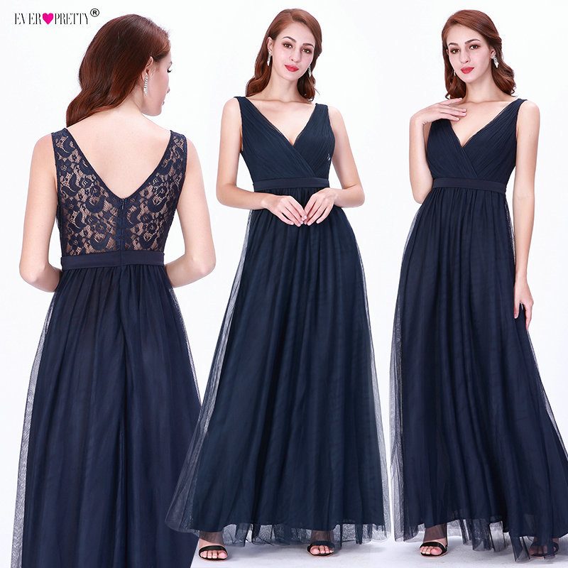 Bridesmaid     Dresses   Long 2019 Ever Pretty Navy Blue A-line Tulle Lace Wedding Guest   Dresses   Sexy Vestidos De Fiesta De Noche