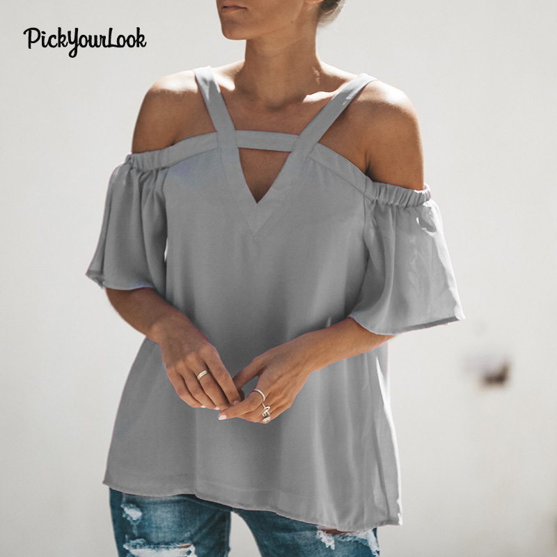 Pickyourlook Fashion Woman Blouses 2019 Soild Spaghetti Strap Female Top Summer Short Sleeve Off Shoulder Women Shirt Lady Tops in Blouses amp Shirts from Women 39 s Clothing