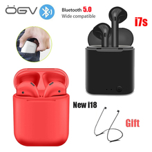 New i18 TWS 5.0 Wireless Bluetooth Earphone i7s tws Stereo Earbud Headset With Charging Box For All tablet Smart phone earphone