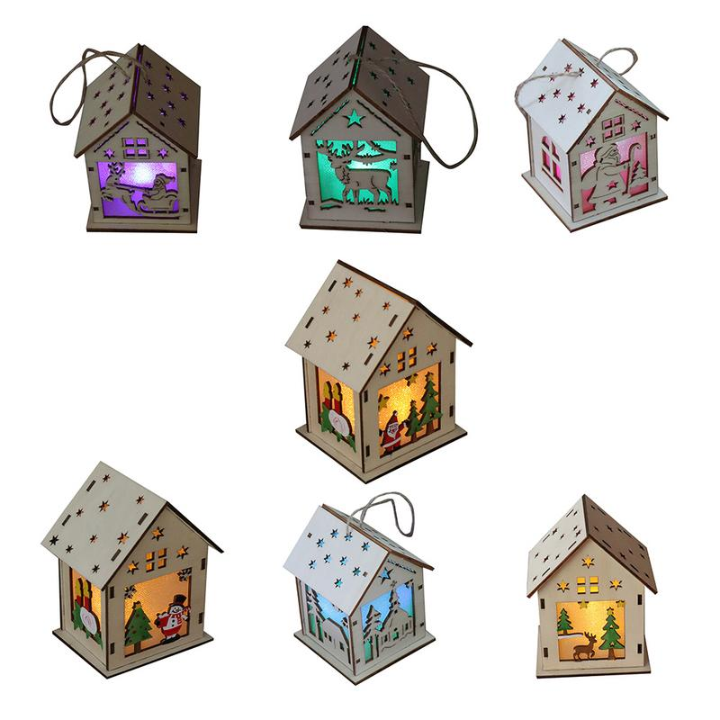 Children Christmas Tree DIY Hanging House Toy Christmas Luminous Wooden House Christmas Decoration Ornament Craft Toy