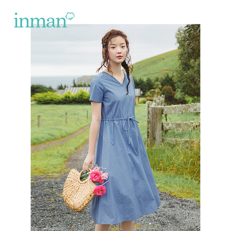 INMAN Summer New Arrival V-neck Literary Retro Plaid Defined Waist Slim Shoer Sleeve Women Dress