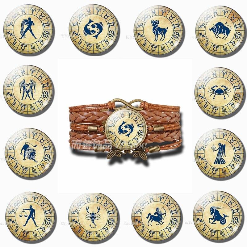 12 Constellations Handmade Glass Dome Pendant Jewelry Braided Leather Bracelet Libra Scorpio Sagittarius Capricorn Birthday Gift(China)