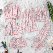 2019 5 Pieces Spring Women Sleepwear Sexy Lace Lingerie Pyjamas Sets Flower Print Lingerie Female Pajama Female With Chest Pads