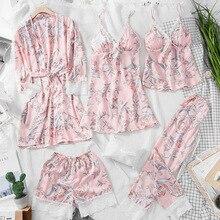2019 5 pièces printemps femmes vêtements de nuit Sexy dentelle Lingerie Pyjamas ensembles fleur impression Lingerie femme pyjama femme avec coussinets de poitrine
