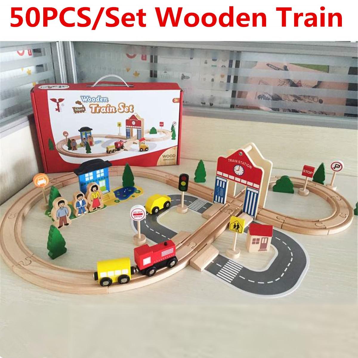 50 pièces en bois Train piste magnétique course piste blocs chemin de fer pont électrique Train piste ensemble véhicules enfants jouets enfants cadeaux