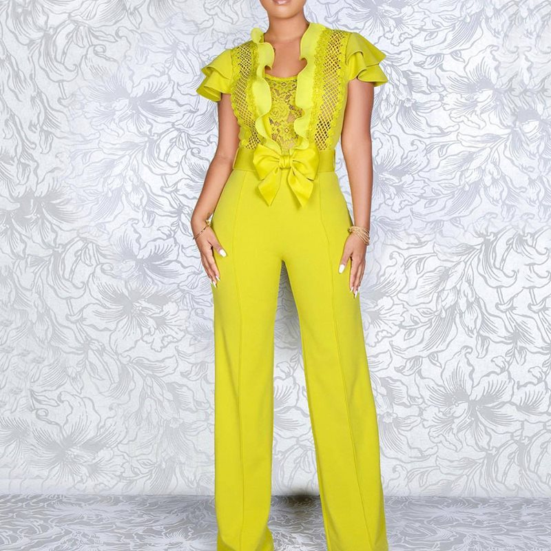 Summer Sexy Club Women Jumpsuits Casual Beach Style High Street Slim Plain Hollow Ruffles Bow Female Fashion Yellow Rompers