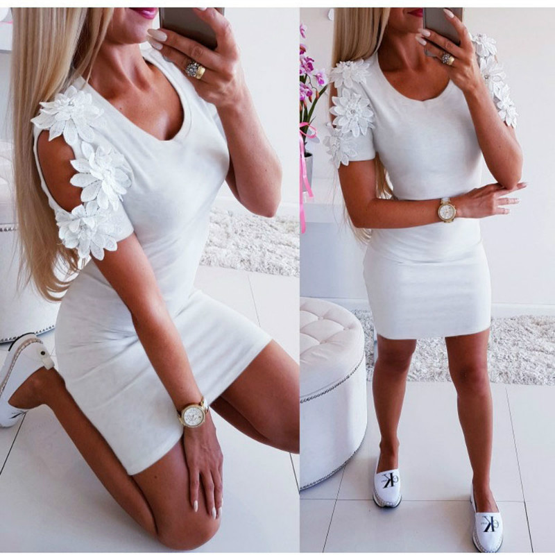 Summer Dress 2019 Women Sexy Slim Casual Mini Dresses Ladies Solid Short Sleeve Bodycon Dress Party Summer Dress 2019 Women Sexy Slim Casual Mini Dresses Ladies Solid Short Sleeve Bodycon Dress Party Clubwear Mini