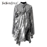 TWOTWINSTYLE Sexy Heavy Sequins Dresses Female Long Sleeve Lace Up Asymmetrical Ruffle Dress For Women 2019 Autumn Fashion New